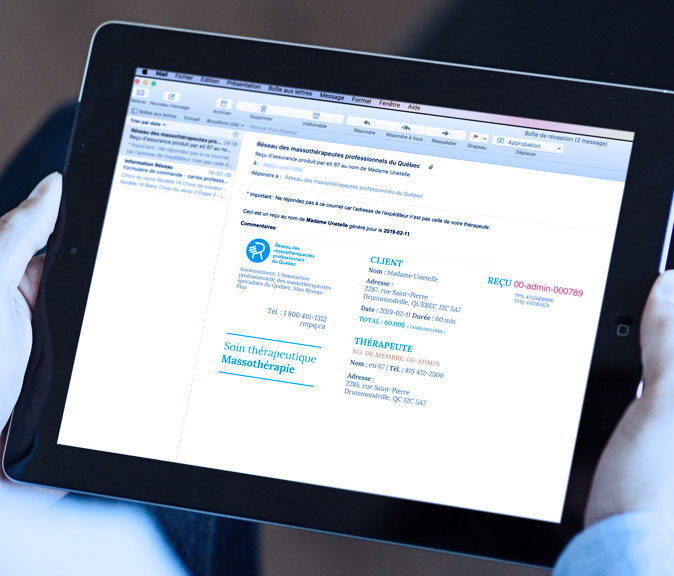 Service de reçus d'assurance en ligne - Réseau des massothérapeutes
