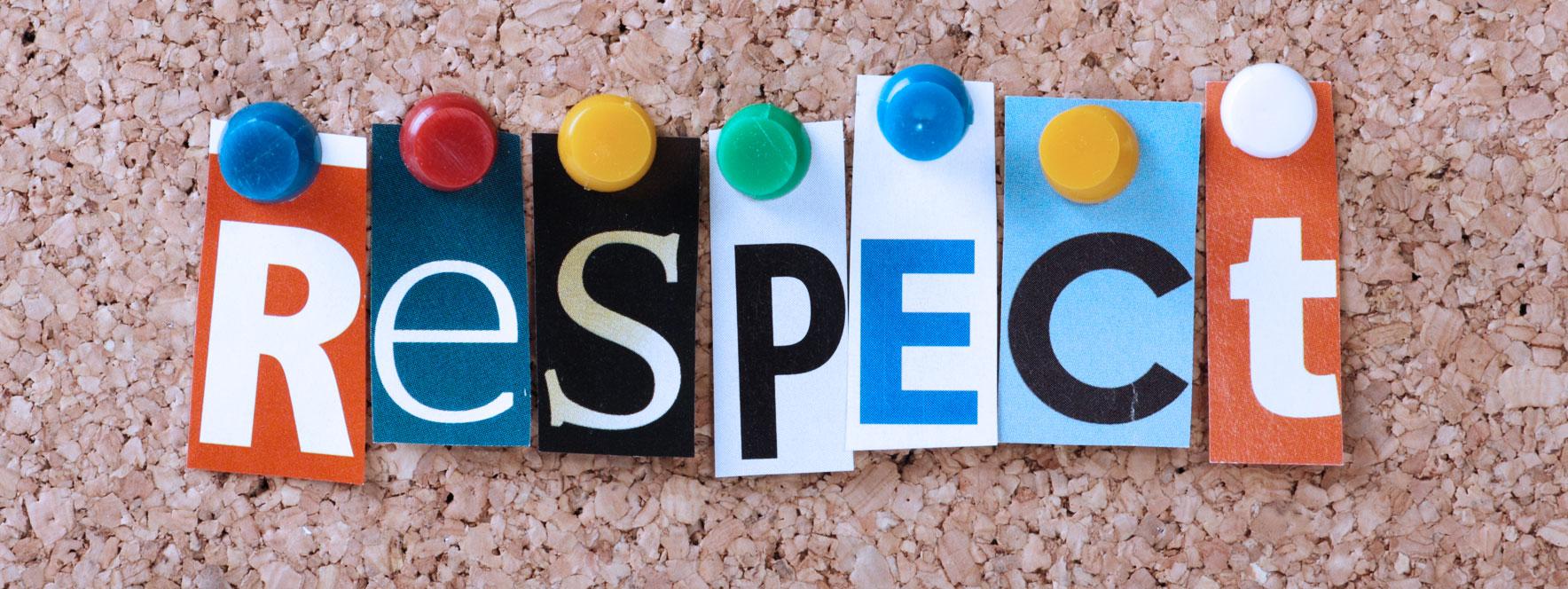 Mot respect épinglé sur un tableau - Blogue du Réseau