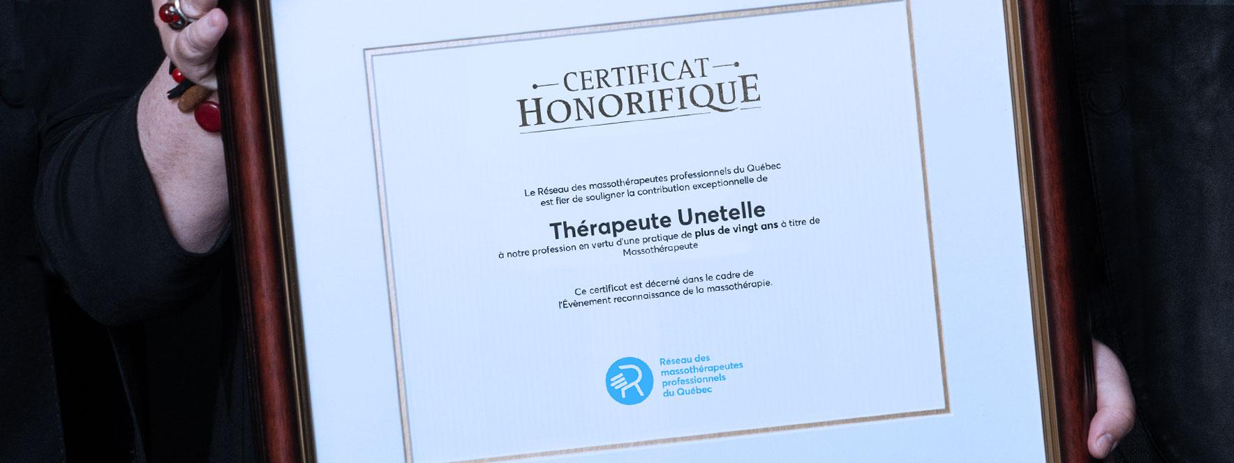 Certificat honorifique 20 ans et plus